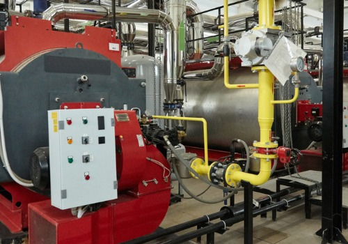 IL Commercial Boilers in the boiler room of a business