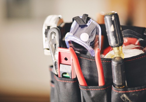 A bag of tools for a technician ready to perform Boiler Replacement in IL